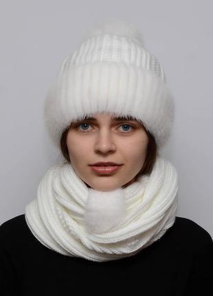 Женский комплект шарф с шапкой снуд белый