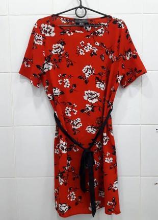 Яркое шифоновое платье под поясочек primark