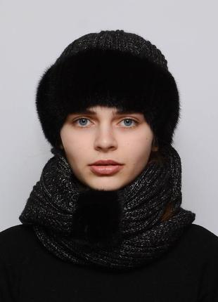 Женский вязаный комплект шарф с шапкой снуд черный
