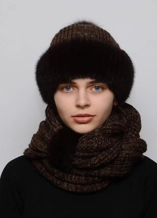 Женский вязаный комплект шарф с шапкой снуд коричневый