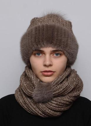 Женский вязаный комплект шарф с шапкой снуд какао