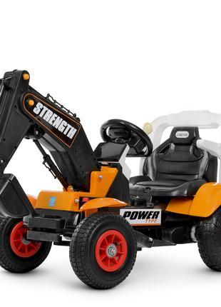 Детский электромобиль Трактор экскаватор с надувными колесами 426