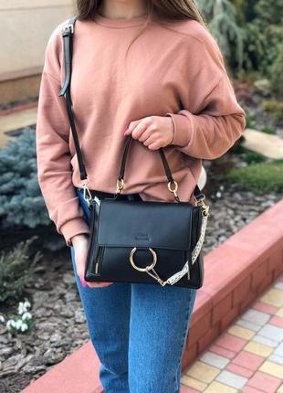 Женская сумка через плечо жіноча через плече чёрная чорна Chloe
