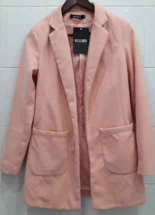 Шикарное мягкое пальто плащ жакет пудрового цвета
