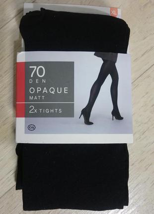 New! чёрные/серые матовые колготки 70 den c&a сток размер xl 4...