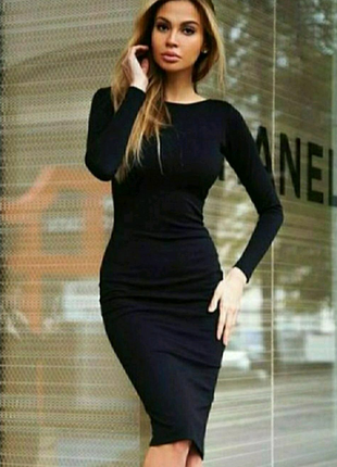 Платье чёрное миди длинный рукав