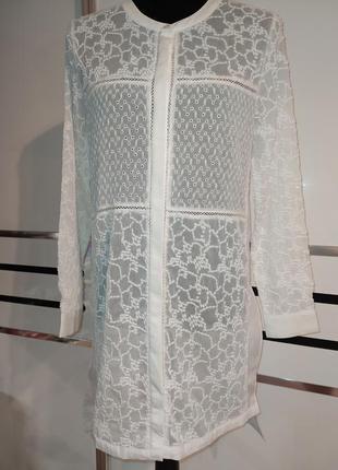 Удлиненная белая блуза туника рубашка кружево вышивка