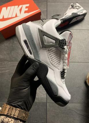 🔥nike air jordan 4 retro grey white ✳️ мужские высокие кроссов...