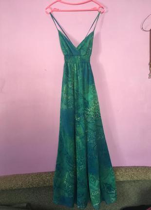 Стильное длинное платье сарафан на бретелях красивый узор модн...