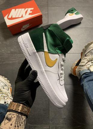 Nike air force high white green, мужские кроссовки найк