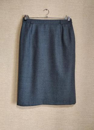 Классическая прямая шерстяная юбка спідниця миди серая с шлице...