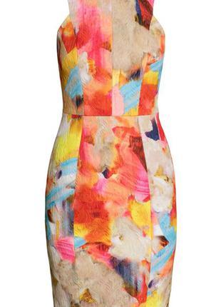Яркое платье футляр h&m 36р