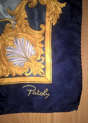 Большой шелковый платок patoly италия подписной шов роуль