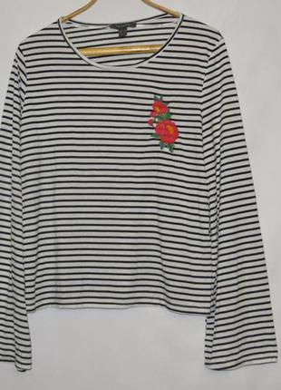 Полосатая футболка с длинным рукавом, в стиле бохо с вышивкой ...
