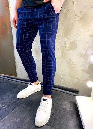 Стильные мужские штаны брюки джоггеры в полоску и клеточку джинсы
