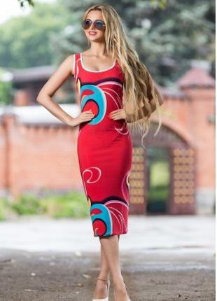 Платье футляр летнее по фигуре красного цвета, платье майка
