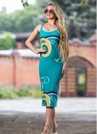 Платье футляр летнее по фигуре бирюзового цвета, платье майка