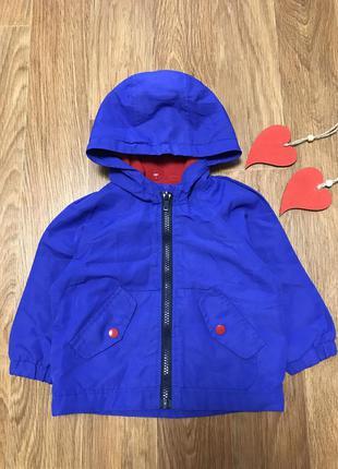 Куртка ветровка на флисовой подкладке с капюшоном