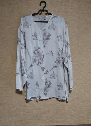Inspiration шелковая нежная пижама халат блузон в цветы шелк