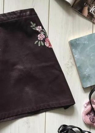 Юбка кожаная с вышивкой модная от new look