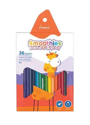 Карандаши цветные треугольные Marco Smoothies 36 цветов (2150-36)