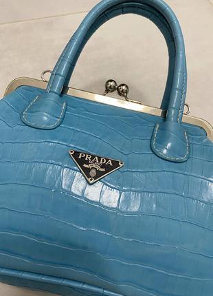 Винтажная сумка prada, змеиный принт, маленькая сумочка, клатч.