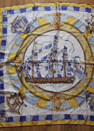Шелковый платок морская тематика корабли красивая илюстрация