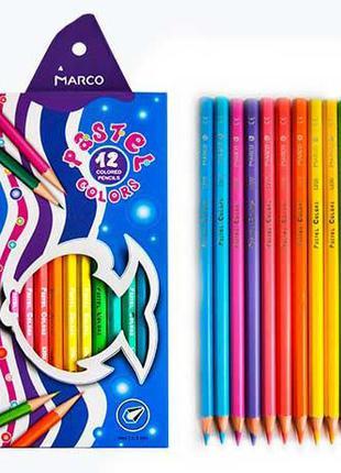 Карандаши цветные Marco Pastel 12 цветов (5200-12CB)
