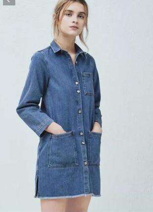 Джинсовое платье рубашка mango размер m/l