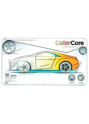 Карандаши цветные Marco Color Core 12 цветов в металл. кейсе 3100