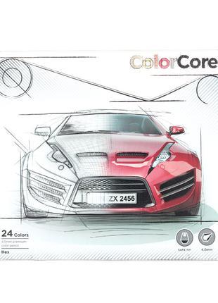 Карандаши цветные Marco Color Core 24 цвета в металл. кейсе 3100
