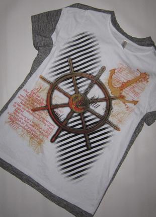 Крутая белая футболка морская тема