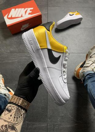 Женские кроссовки nike air force white yellow