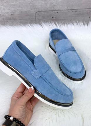 Красивые замшевые туфли на низком ходу,яркие голубые  лоферы и...