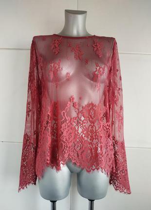 Кружевная блуза, топ new look розового цвета