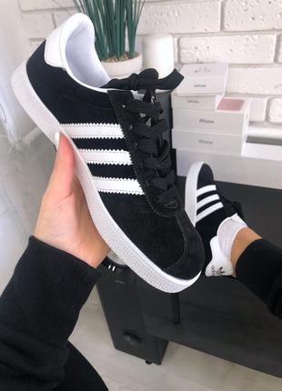 Женские кроссовки/кеды adidas gazelle black white, адидас газель