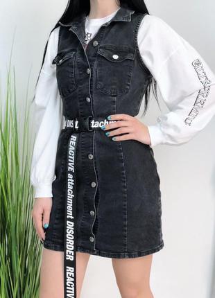 Джинсовое мини платье сарафан zara