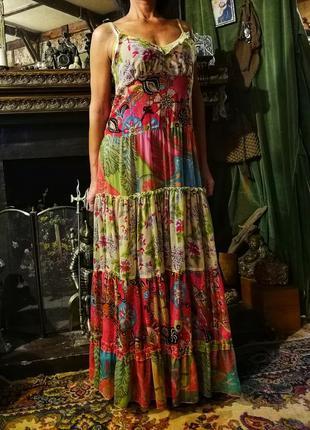 Индия. яркий сарафан платье с цветочным принтом на бретелях с ...