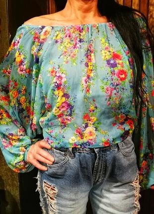 Ad lib. блузка в принт цветы яркая полупрозрачная с открытыми ...