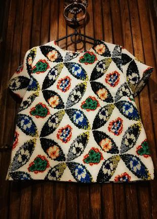 Фактурный топ футболка блузка яркая принт орнамент atmosphere