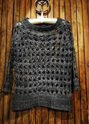 Джемпер ажурный меланж вязаный свитер кофта next