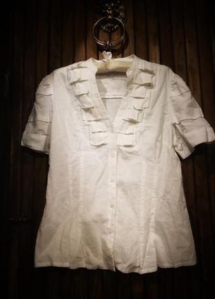 Стильная рубашка лен вискоза. блузка жабо next