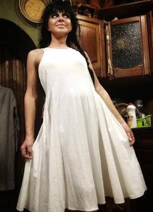 Шикарное платье комбинация вискозы и коттона расклешенное gap