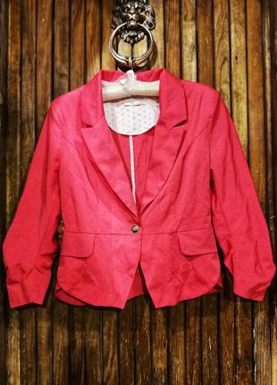 Пиджак красно розовый необычный блейзер жакет