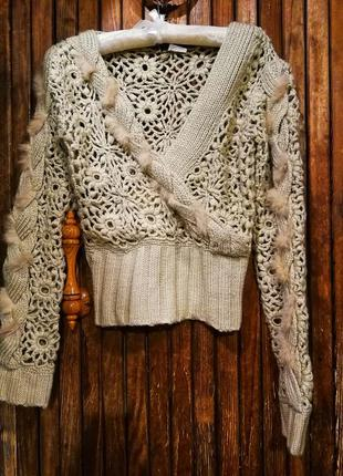 🌟 распродажа! 🌟 необычный джемпер с мехом кролика вязаный свитер