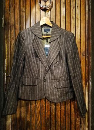 Новый стильный пиджак next 18 в полоску блейзер жакет лен