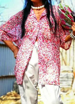 Рубашка блуза gabriella visenza принт цветы батал