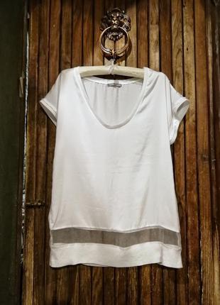 Блуза футболка zara комбинированная с фатином