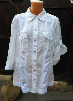 Рубашка лен льняная с bonita комбинированная
