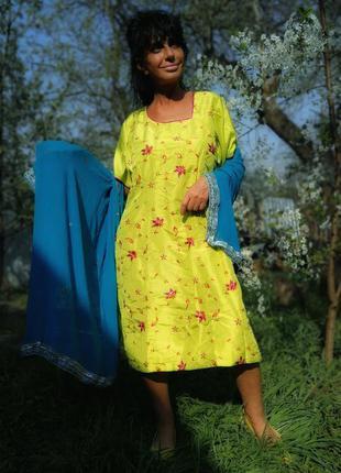 Салатовое платье с вышивкой и пайетками камиз туника миди в ин...